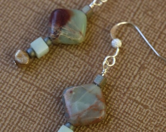 TEX MEX Earrings With African Opal, Agates & Baroque Freshwater Pearls On Sterling Silver Stardust Wires