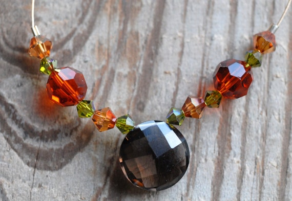 AUTUMN'S PAINTBRUSH Necklace With Faceted Smoky Quartz Coin & Swarovski Crystals On 24 Karat Gold Plated Wire
