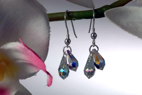 GEMDROP CRYSTAL Earrings With Faceted Swarovski Crystal Teardrops On Sterling Silver Wires