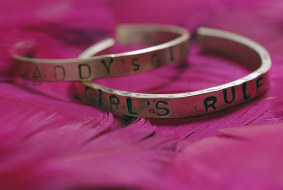 GIRLS RULE 4 To 6-Year-Old Kid's Cuff Bracelet In Sterling Silver Handstamped With Stars & Hearts