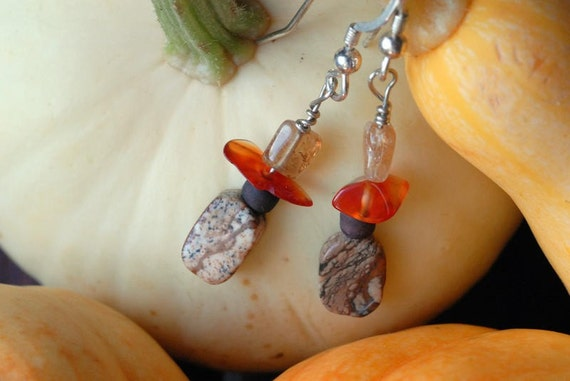 AUTUMN Earrings With Picture Jasper, Carnelian & Citrine On Sterling Silver Wires
