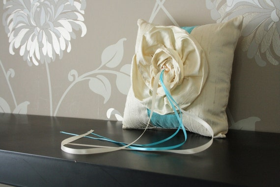 Reserved for Danielle-silk ring bearer pillow with ruffle flower in cream and tiffany blue