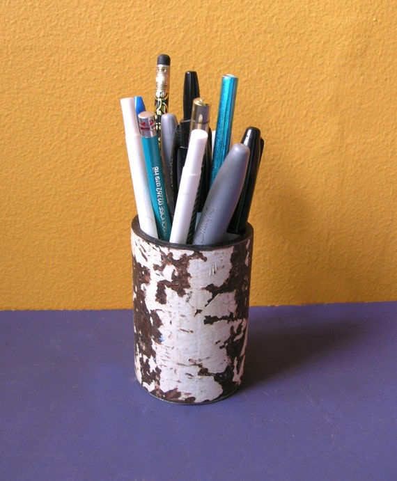 Industrial Container, Recycled Metal. Unique Pencil Holder - Faux Cowhide