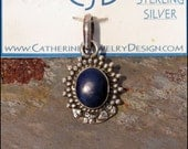 Lapis Lazuli Sterling Silver Pendant ~ Oval Lapis Cabochon ~ Royal Blue Pendant - chain not included