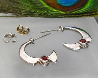 """Garnet Half-Hoop """"Moon"""" Sterling Silver Post Earrings"""