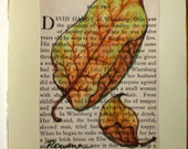 Gifts- Original Mixed Media Drawing on vintage book page