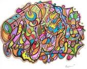Seduction Hurts - Modern Abstract Art - Drawing by Kim Dean 19 x 24