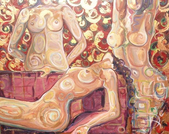 Lascivious by Kim Dean - Huge Stretched 4x5 foot Modern Abstract Nude Painting