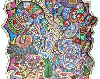 INFIDELITY - Modern Abstract Art - Drawing by Kim Dean - 19 x 24