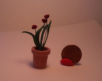 Potted Tulips Dollhouse Miniature