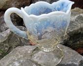 Pitcher Creamer Northwood Intaglio Opalescent Vintage Custard Water Milk Clambroth Rare Collectible