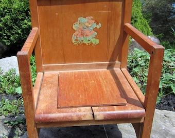 Vintage Wood Potty Training Chair Lid Garden Planter Pot