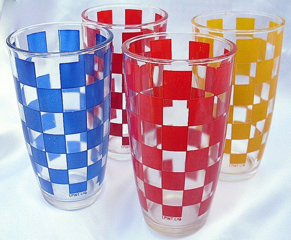 RESERVED forThreeTreesArt,  Hazel Atlas Depression Glass Tumbler Checker Board Red Blue Yellow
