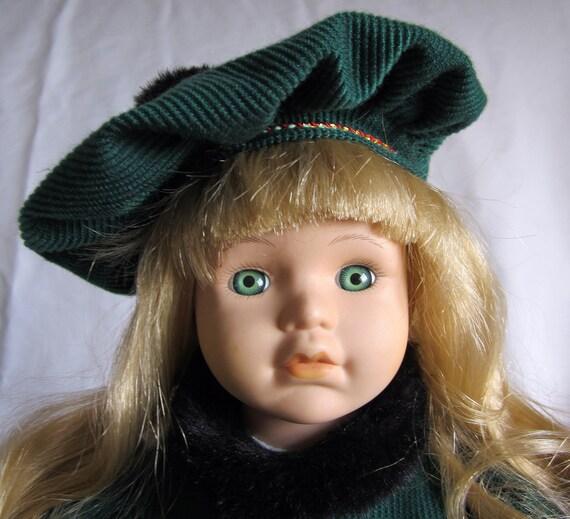 McField Porcelain Doll Green Eyes Dress Hat Black Fur Cloak Vintage