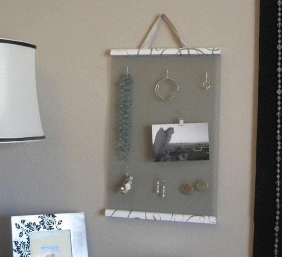Hanging Jewelry Organizer in Silver Swirl