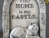 Smug whimsical cat wall sculpture plaque indoor outdoor & made in USA. Cat lover's gift