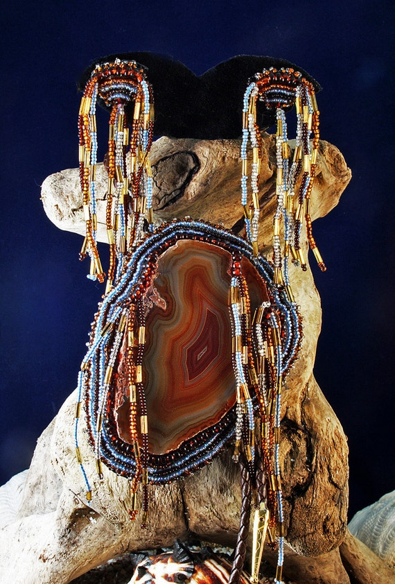 """Handcrafted Bead Embroidered Wearable Art Piece """"Banner Blue"""" Polished Agate Pendant /Bolo w/Matching Earrings w/Brown Leatherette Bolo Cord"""
