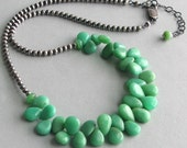 Chrysoprase Teardrops Bib Necklace on a Beaded Sterling Silver Chain, Blue Green Necklace, Last One, Deluxe Gift for Her