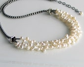 White Pearl Bib Necklace and Sterling Silver, Multistrand Pearl Cluster Necklace, White Nugget Pearls, Deluxe Gift for Her