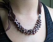 Pearl Cluster Bib in Lavender Bronze on Handmade Silk Ribbon, Deluxe Pearls, Deluxe Gift for Her