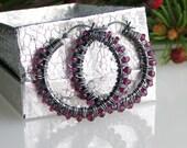 Garnet Hoop Earrings, Sterling Silver Hoop Earrings with Rhodolite Garnets, January Birthstone Latchback Earrings