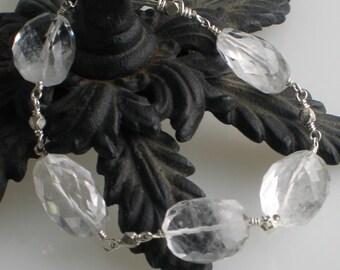 Crystal Quartz Bracelet, Faceted Quartz Nuggets Linked with Sterling Silver, Artisan Made Fashion Bracelet, Gift for her under 50