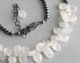 Moonstone and Silver Necklace, Gemstone Teardrop Cluster on a Special Sterling Beaded Chain, White Beaded Necklace, Gift for Her, June