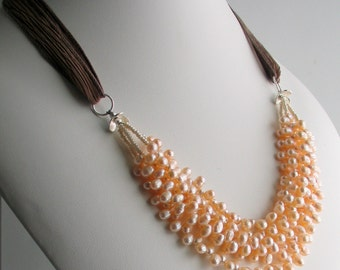 Pearl Cluster Bib Necklace, Peach Pearls on Silk Ribbon, Multistrand Peach Pearl Necklace, Deluxe Gift for Her, Wedding