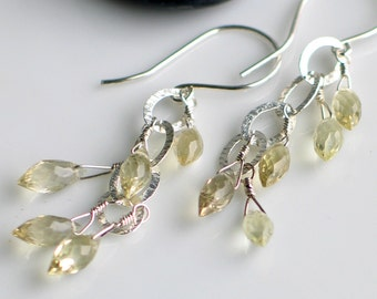 Lemon Quartz and Sterling Dangle Earrings, Faceted Gemstone Earrings, Fresh and Original Artisan Design
