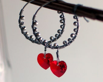 Red Heart Crystal Hoops, Textured Silver Earrings Dangle Hearts, Swarovski Crystals, Valentine's Day Earrings, Gift for Her, Artisan Hoops