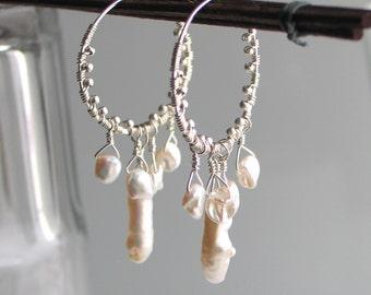 White Keishi Pearls on Silver Hoop Earrings, Wedding Earrings, Natural Pearl Dangle Hoops, Gift for Her, Deluxe June Birthstone, Summer