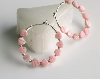 Pink Stone Heart Sterling Hoops, Tiny Rhodochrosite Hearts Wire Wrapped to Handmade Sterling Silver Hoops, Pink Stone Hoops, Gift for Her