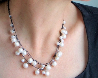 Designer Pearl Necklace, White Pearl Bib on Knotted Linen, Ivory White and Brown Bib Necklace, Original Artisan Design by WillOaks Studio