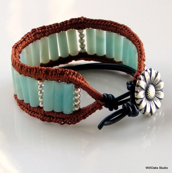 Aqua Cuff Bracelet, Amazonite Stone Cuff Crocheted with Brown Silk and Black Pleather, Original Bracelet