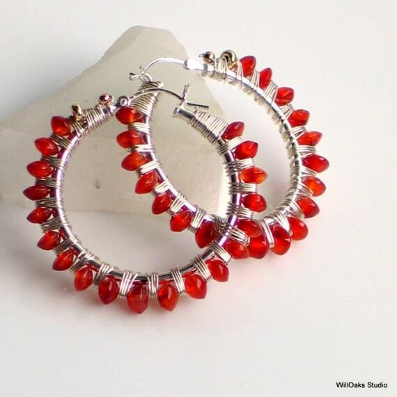 Red Carnelian Hoop Sterling Earrings with Latchback Wrapped with Silver, Red Orange Earrings, Designer Artisan Hoops, One of a Kind