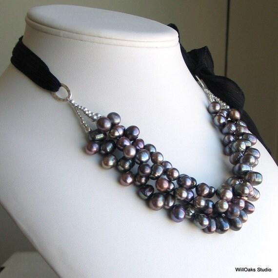 Dark Peacock Pearl Bib, Statement Multistrand Pearls on Black Silk Ribbon, Original Artisan Necklace, Deluxe Gift for Her