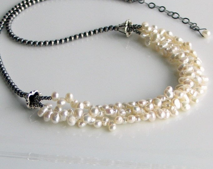 Featured listing image: White Pearl Bib Necklace and Sterling Silver, Multistrand Pearl Cluster Necklace, White Nugget Pearls, Deluxe Gift for Her
