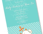 NAUTICAL ANCHOR WHALE Printable Party Invitation - Turquoise and Orange Printing Available