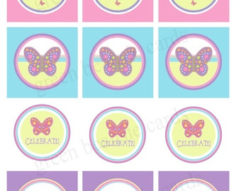 SPRING BUTTERFLY Printable Cupcake Toppers