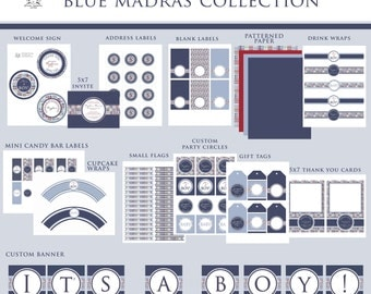 BABY SHOWER MADRAS Printable Party Decor Package and Invitation - Blue