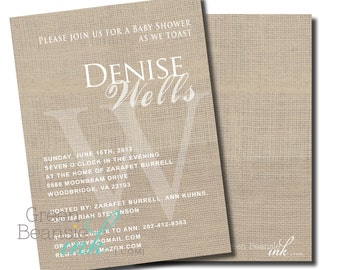 LINEN MONOGRAM Printable Party Invitation Printing Available