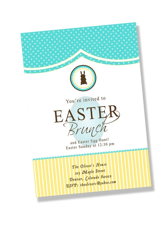 CHOCOLATE EASTER BUNNY Printable Party Invitation Printing Available