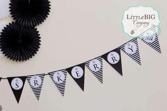 GLAM BLACK & WHITE Printable Party Banner
