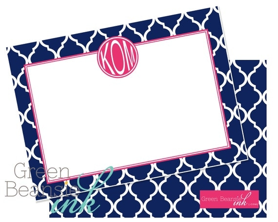 "25 MODERN NAVY & PINK Monogram 4"" x 5.5"" Flat Card - Pearl Finish with Envelopes"