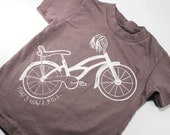 Organic toddler bicycle t-shirt screen printed Bike That's How I Roll 2T 4T 6T