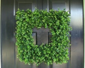 Custom Square Boxwood Wreath, Artificial Boxwood Wreath, Square Outdoor Decor,  Front Door Wreaths, THIN Wreath for