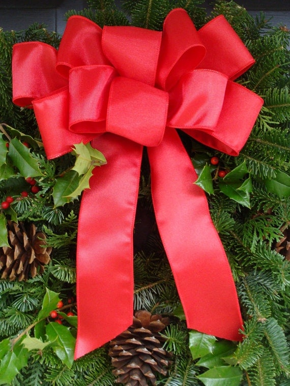 Custom Bow- Bow Decoration- Wreath Bow- Pew Bow- 10 inches wide with 12 inch tails.
