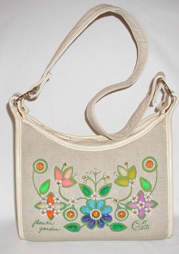 SALE ... Enid Collins... flower garden, vintage handbag