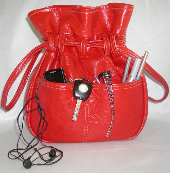 Ahead of it's Time ....RESERVED For C.... Red Vinyl Handbag