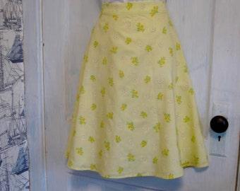 "Sunny Yellow floral full skirt 30"" waist"